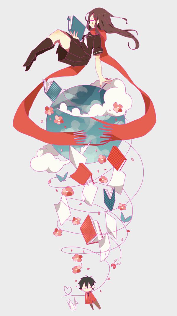Tags: Anime, Hokori, Kagerou Project, Tateyama Ayano, Kisaragi Shintaro, Mobile Wallpaper, Fanart From Pixiv, PNG Conversion, Pixiv, Fanart
