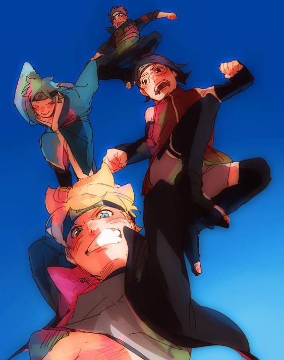 Tags: Anime, Pixiv Id 1545443, BORUTO, NARUTO, Mitsuki (NARUTO), Uzumaki Boruto, Sarutobi Konohamaru, Uchiha Sarada, Fanart, PNG Conversion, Pixiv, Fanart From Pixiv, Team Konohamaru