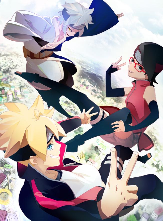 Tags: Anime, Pixiv Id 3467577, NARUTO, Uchiha Sarada, Mitsuki (NARUTO), Uzumaki Boruto, Fanart From Pixiv, Pixiv, Fanart, Mobile Wallpaper, Team Konohamaru