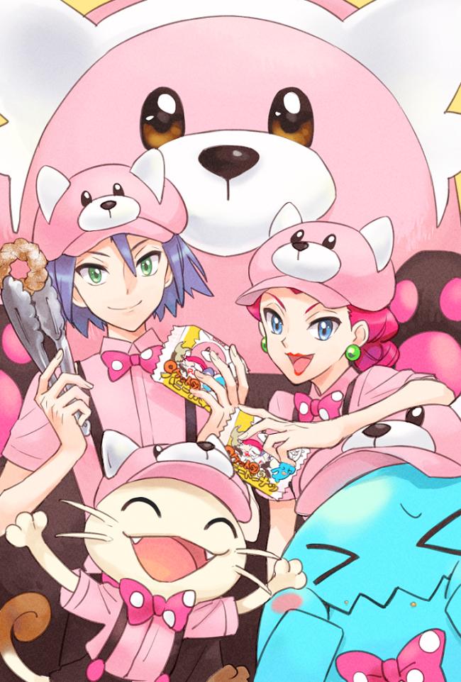 Tags: Anime, Rikovui, Pokémon (Anime), Pokémon, Kojirou (Pokémon), Musashi (Pokémon), Meowth, Bewear, Wobbuffet, Pokémon (Cosplay), Bewear (Cosplay), Fanart, Fanart From Pixiv
