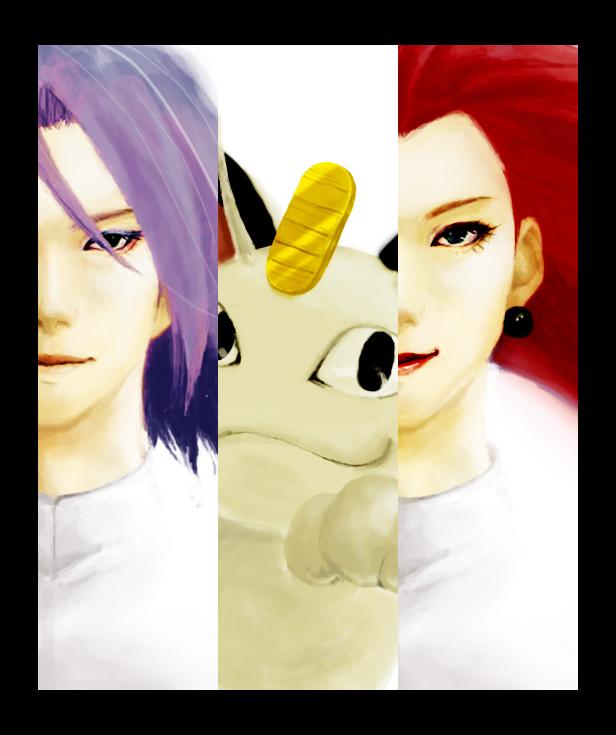 Tags: Anime, Healthya, Pokémon, Kojirou (Pokémon), Musashi (Pokémon), Meowth, Fanart, Team Rocket