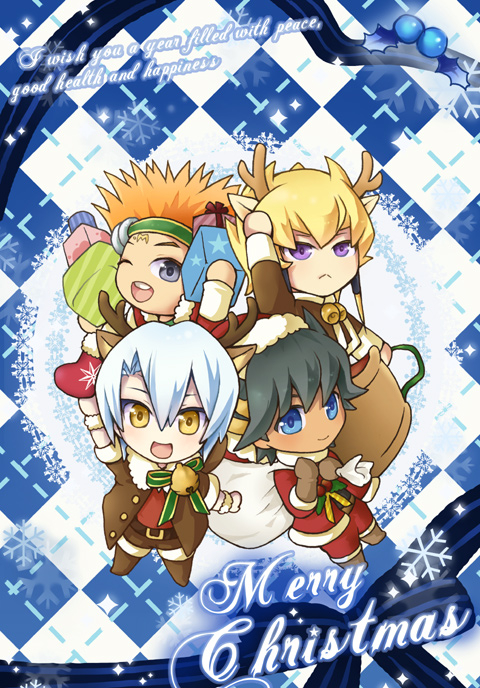 Tags: Anime, Pixiv Id 5665503, Yu-Gi-Oh!, Yu-Gi-Oh! 5D's, Crow Hogan, Jack Atlas, Yusei Fudo, Kiryu Kyousuke, Holding Gift, Star Print, Sack, Holding Bag, No Nose