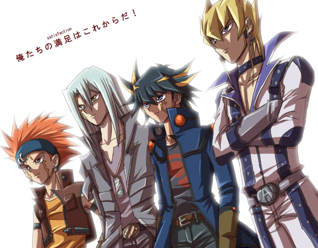 Tags: Anime, Yiyiyi, Yu-Gi-Oh! 5D's, Yu-Gi-Oh!, Yusei Fudo, Kiryu Kyousuke, Crow Hogan, Jack Atlas, Harmonica, Glowing Background, Text: Character Group Name, V-neck, Fanart