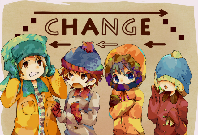 Tags: Anime, Pixiv Id 626027, South Park, Kyle Broflovski, Kenneth McCormick, Stanley Randall Marsh, Eric Theodore Cartman, Stanley Randall Marsh (Cosplay), Kenneth McCormick (Cosplay), Eric Theodore Cartman (Cosplay), Orange Outerwear, Aqua Gloves, Square