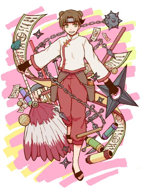 Tags: Anime, Teramoto, NARUTO, Tenten, Shuriken, Tegaki, Fanart, PNG Conversion