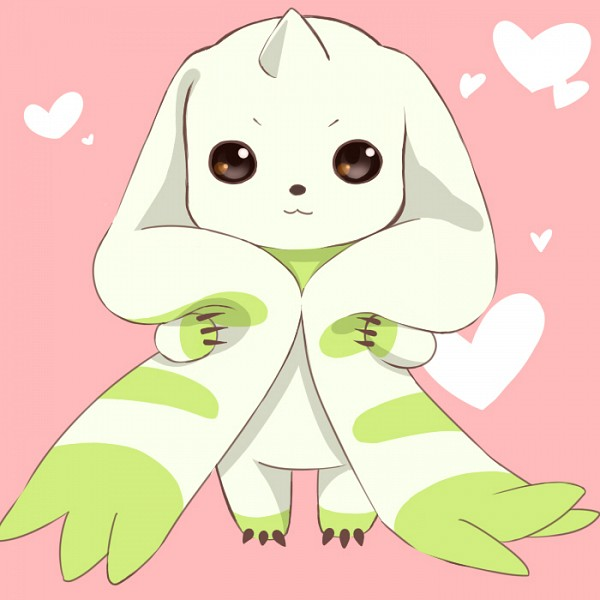 Tags: Anime, Pixiv Id 2406207, Digimon Tamers, Terriermon, :3, Pink Background, Observing