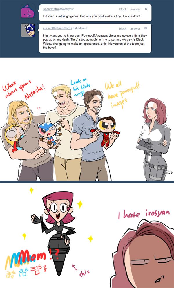 Tags: Anime, Iron Man, The Avengers, Anthony Edward Stark, Steven Rogers, Thor Odinson, Robert Downey Jr., Iron Man (Character), Black Widow, Power Puff Girls (Parody), Tumblr, Marvel, Mobile Wallpaper