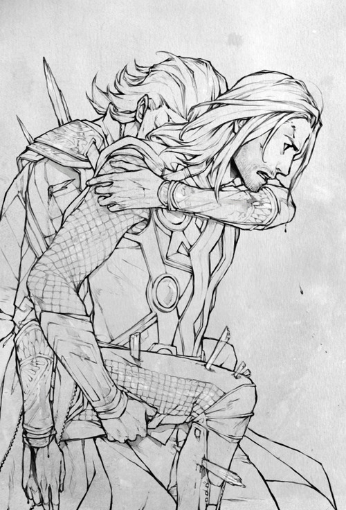 Tags: Anime, Lanimalu, The Avengers, Thor Odinson, Loki Laufeyson, Run Through, Marvel, Mobile Wallpaper