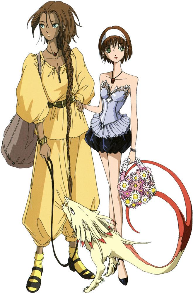Tags: Anime, Nagano Mamoru, The Five Star Stories, Ladios Sopp, Fatima Lachesis, Mini Dragon, Pet, Official Art, Scan