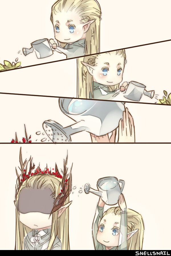 Tags: Anime, SnellSnail, The Lord of the Rings, Thranduil, Legolas, Watering Can, Pixiv, Fanart From Pixiv, Fanart, Mobile Wallpaper, deviantART