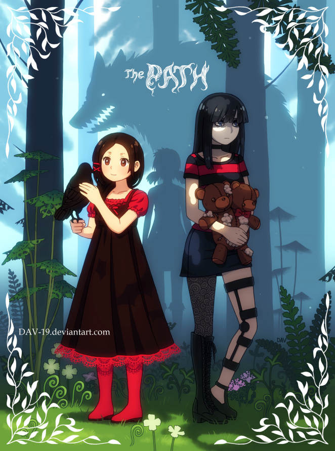 Tags: Anime, DAV-19, The Path (Game), The Girl In White, Ruby (The Path), Rose (The Path), Werewolf, Black Bird, Bird on Hand, Animal on Hand, Lace Trim, deviantART, Fanart