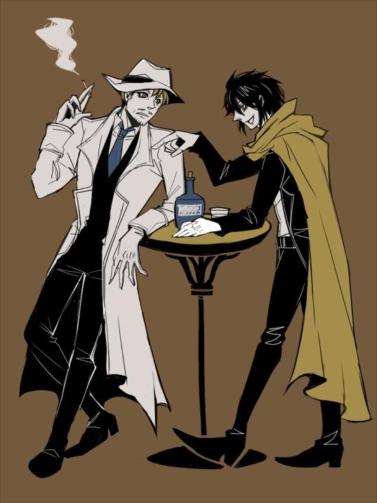 Tags: Anime, Pixiv Id 733902, Drifters (Manga), Sundance Kid, Butch Cassidy, Trench Coat, The Wild Bunch, Stubble, Fedora, Fanart From Pixiv, Fanart, Pixiv