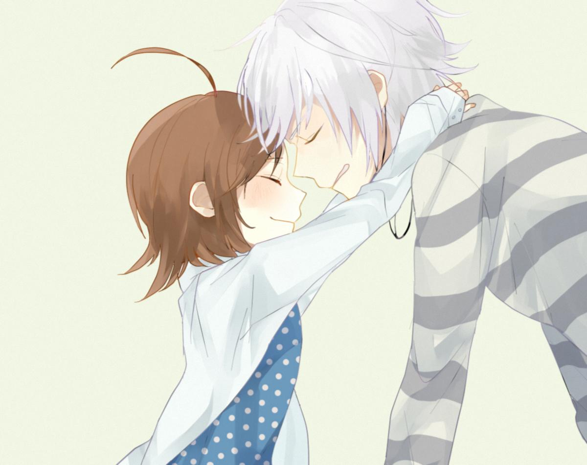 Парень и девушка обнимашки аниме
