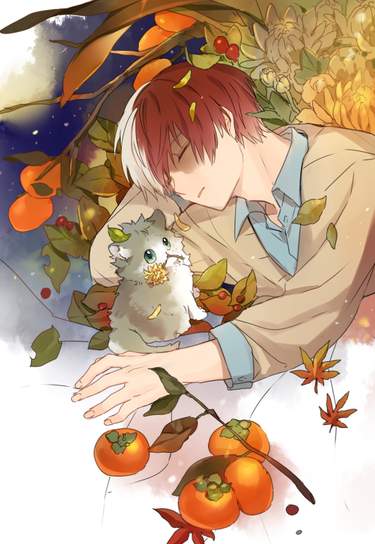 Tags: Anime, TILA, Boku no Hero Academia, Todoroki Shouto, Midoriya Izuku, Persimmon (Fruit), Fanart, Mobile Wallpaper, Fanart From Pixiv, Pixiv
