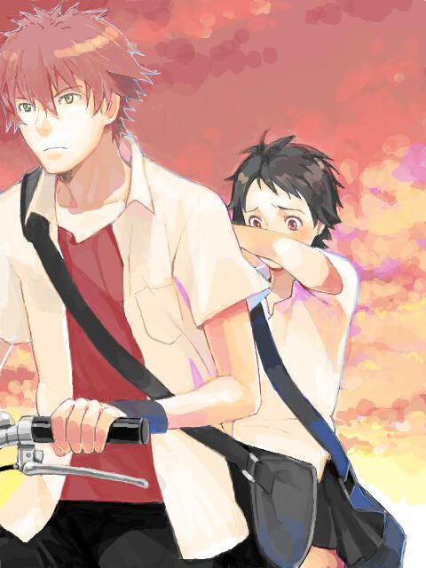 Tags: Anime, Habuki, Toki wo Kakeru Shoujo, Konno Makoto, Mamiya Chiaki, Bicycle, Sad