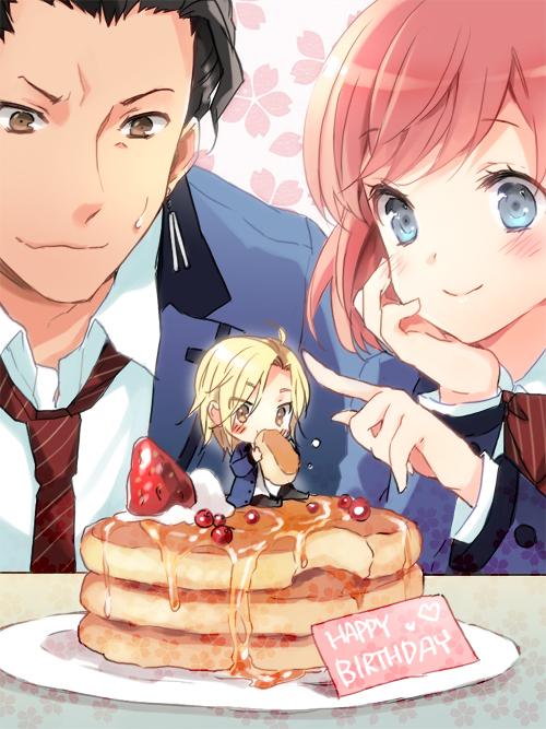 Tags: Anime, CUTEG, KONAMI, Tokimeki Memorial Girl's Side 3rd Story, Hinomoto Hikari, Sakurai Koichi, Sakurai Ruka, Pancakes, Pixiv