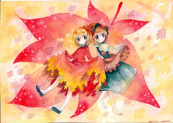 Tags: Anime, Touhou, Aki Minoriko, Aki Shizuha, Traditional Media