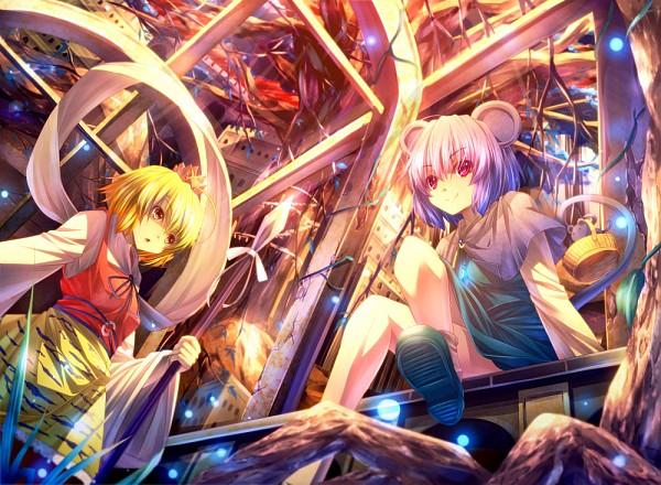 Tags: Anime, Ryosios, Touhou, Nazrin, Toramaru Shou, From Below, Floating Ribbon