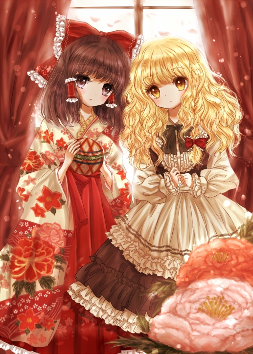 Tags: Anime, Pixiv Id 2120991, Touhou, Kirisame Marisa, Hakurei Reimu, Pixiv, Mobile Wallpaper, Fanart From Pixiv, Fanart