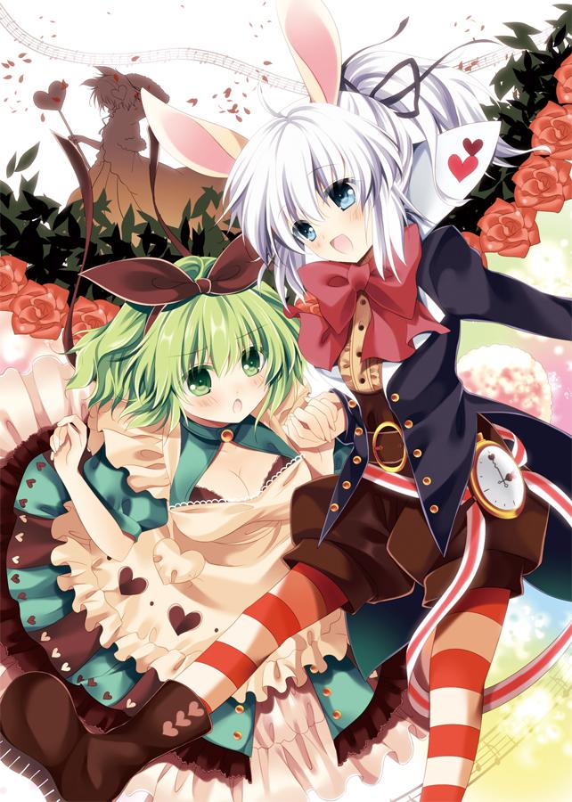 Tags: Anime, Nogi Takayoshi, Touhou, Soga no Tojiko, Mononobe no Futo, Toyosatomimi no Miko, Komeiji Satori, Alice (Alice in Wonderland) (Cosplay), White Rabbit (Cosplay), Alice in Wonderland (Parody), Queen of Hearts (Cosplay), Pixiv