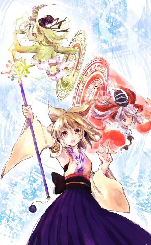 Tags: Anime, Makuwauri, Touhou, Soga no Tojiko, Mononobe no Futo, Toyosatomimi no Miko, Yuna (Cosplay), Fanart From Pixiv, Pixiv, Cosplay Request, Fanart