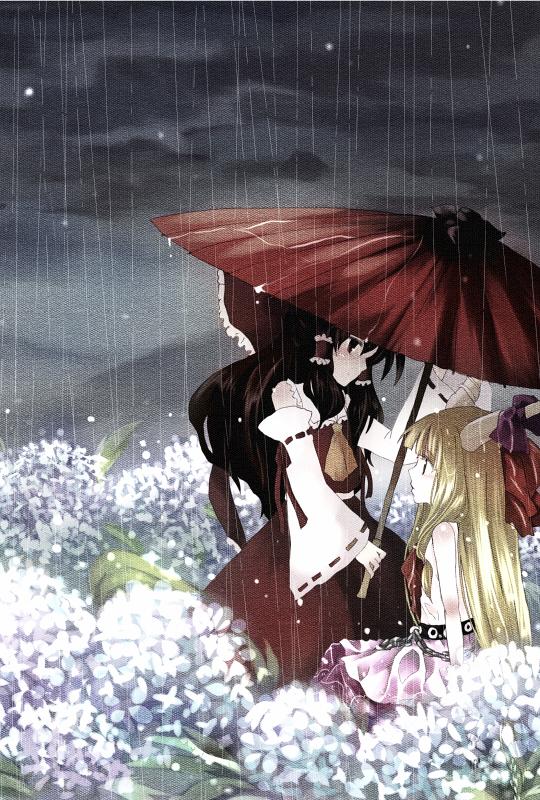 Tags: Anime, Hanada Hyou, Touhou, Ibuki Suika, Hakurei Reimu, Fanart, Pixiv, Mobile Wallpaper, Fanart From Pixiv
