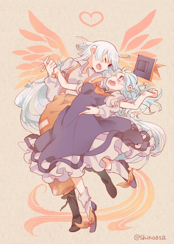 Tags: Anime, Shinoasa, Touhou, Kamishirasawa Keine, Fujiwara no Mokou, Red Pants, Fanart From Pixiv, PNG Conversion, Fanart, Mobile Wallpaper, Pixiv, KeineMoko