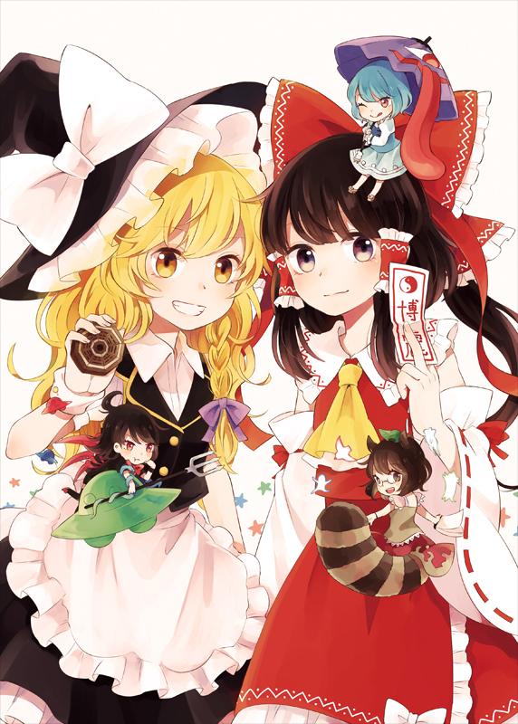 Tags: Anime, Manukedori, Touhou, Kirisame Marisa, Futatsuiwa Mamizou, Houjuu Nue, Hakurei Reimu, Tatara Kogasa, Spaceship, UFO, Mini-Hakkero, Fanart From Pixiv, Pixiv