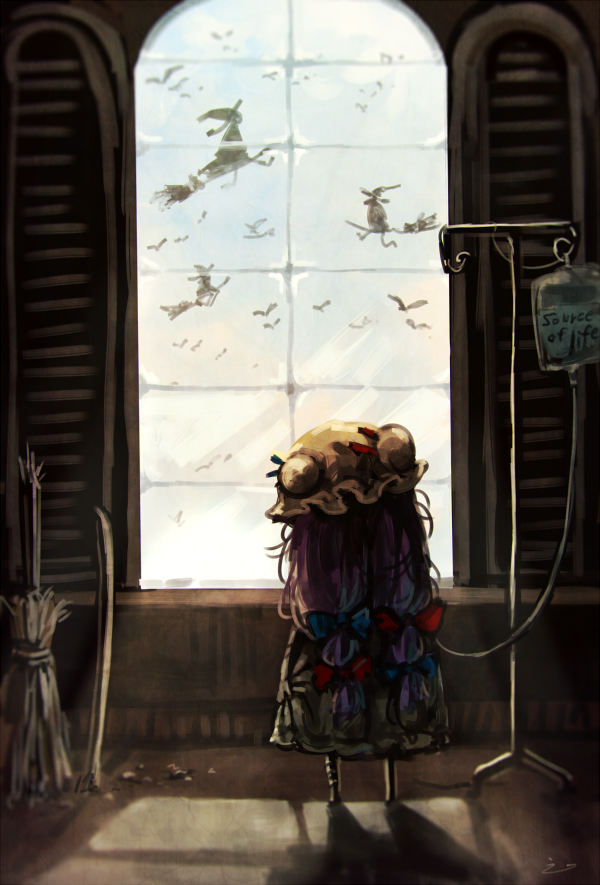 Tags: Anime, Koto Inari, Touhou, Patchouli Knowledge, I.V. Pole, Hospital, Twitter, PNG Conversion, Fanart, Mobile Wallpaper