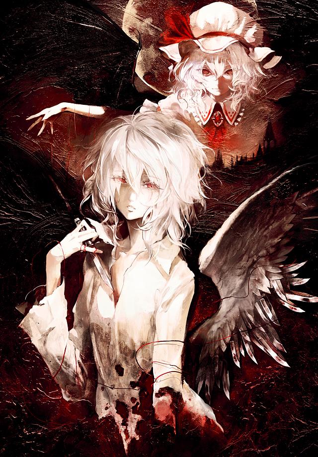Tags: Anime, Banpai Akira, Touhou, Izayoi Sakuya, Remilia Scarlet, One Wing, Big Ben, Mobile Wallpaper, Fanart