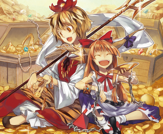 Tags: Anime, Nakatani Nio, Touhou, Ibuki Suika, Toramaru Shou, Treasure, Gold (Metal), Shawl, Sakazuki, Coin, Treasure Chest, Tiger Print
