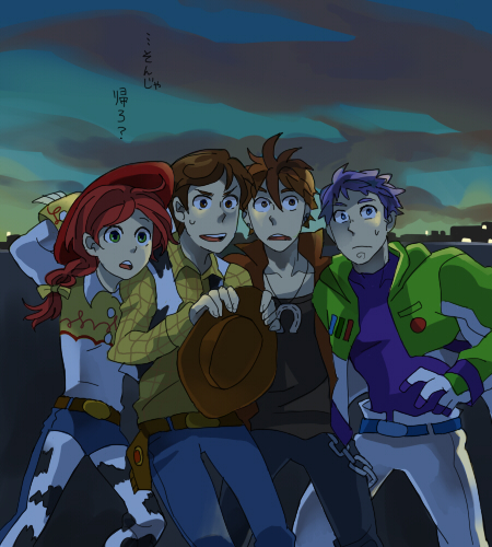 Tags: Anime, Pixiv Id 2215797, Toy Story, Jessie (Toy Story), Buzz Lightyear, Woody, Bullseye, Space Suit, Cowboy, Fanart, Pixar, Disney, Pixiv