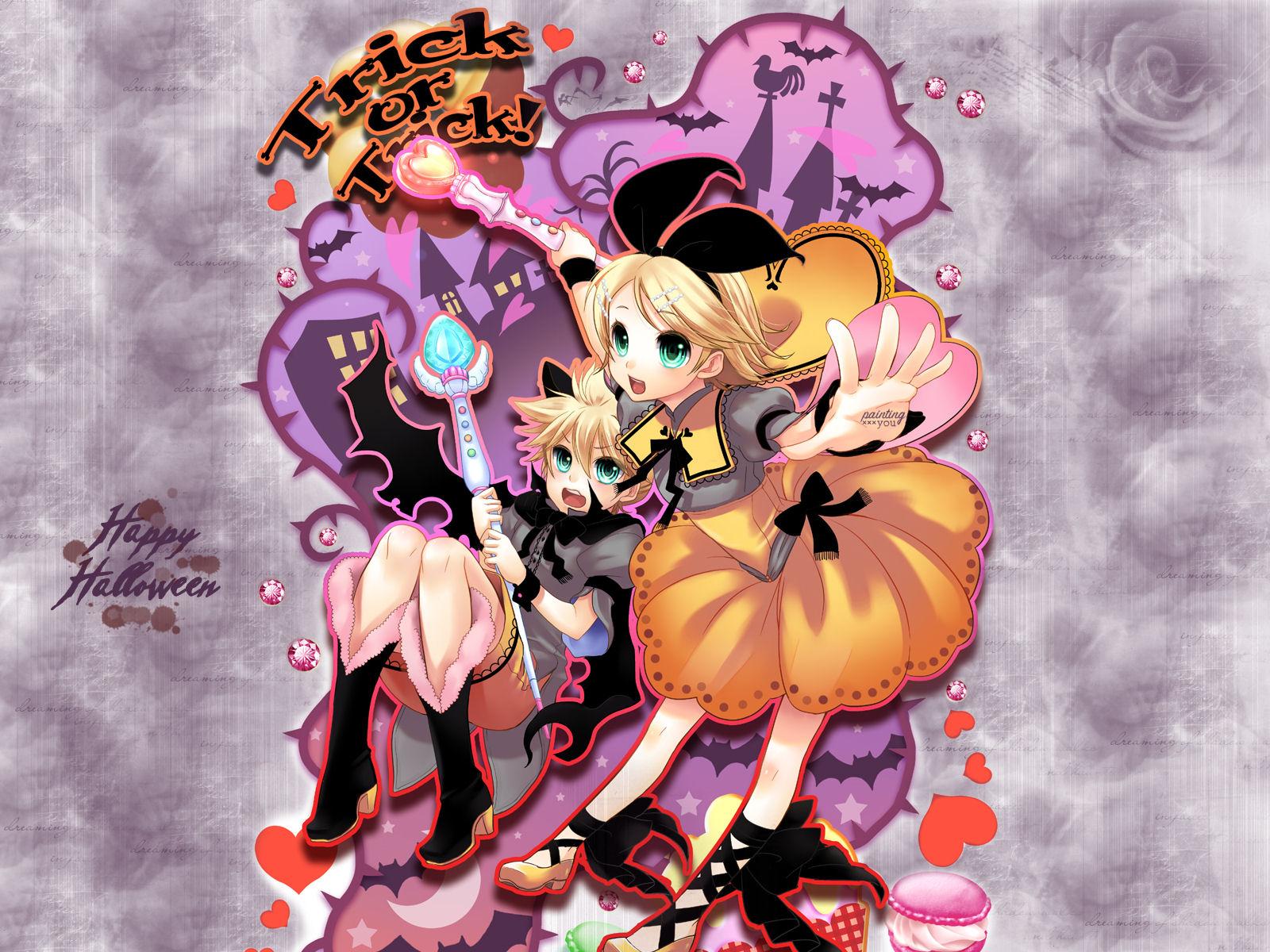 Tags Anime, Tamara, VOCALOID, Kagamine Len, Kagamine Rin, Halloween,