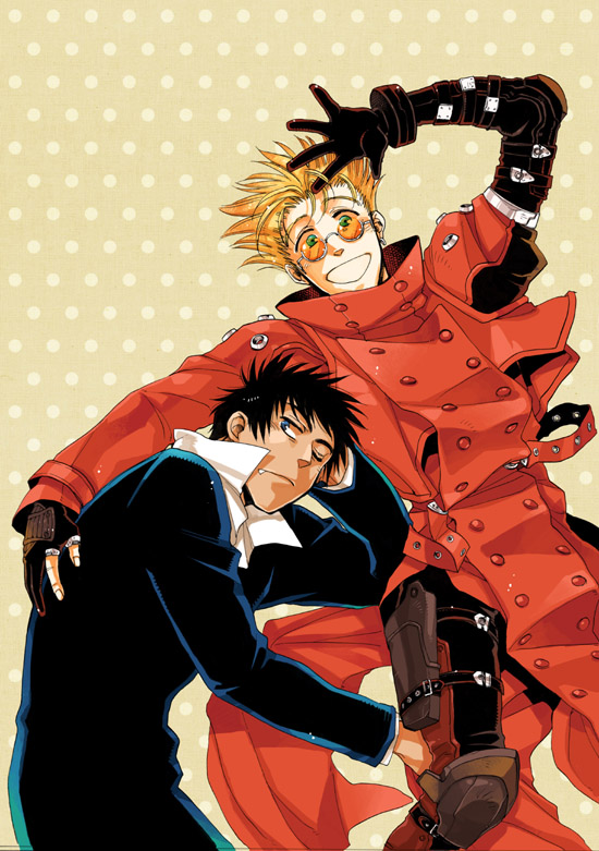 Tags: Anime, Cocoon (Pixiv 2376149), Trigun, Nicholas D. Wolfwood, Vash the Stampede, Spotted, Spotted Background