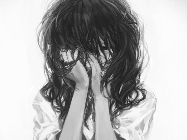 Tags: Anime, Trm Tsuruma, Messy Hair, Portrait, Sad, Covering Face