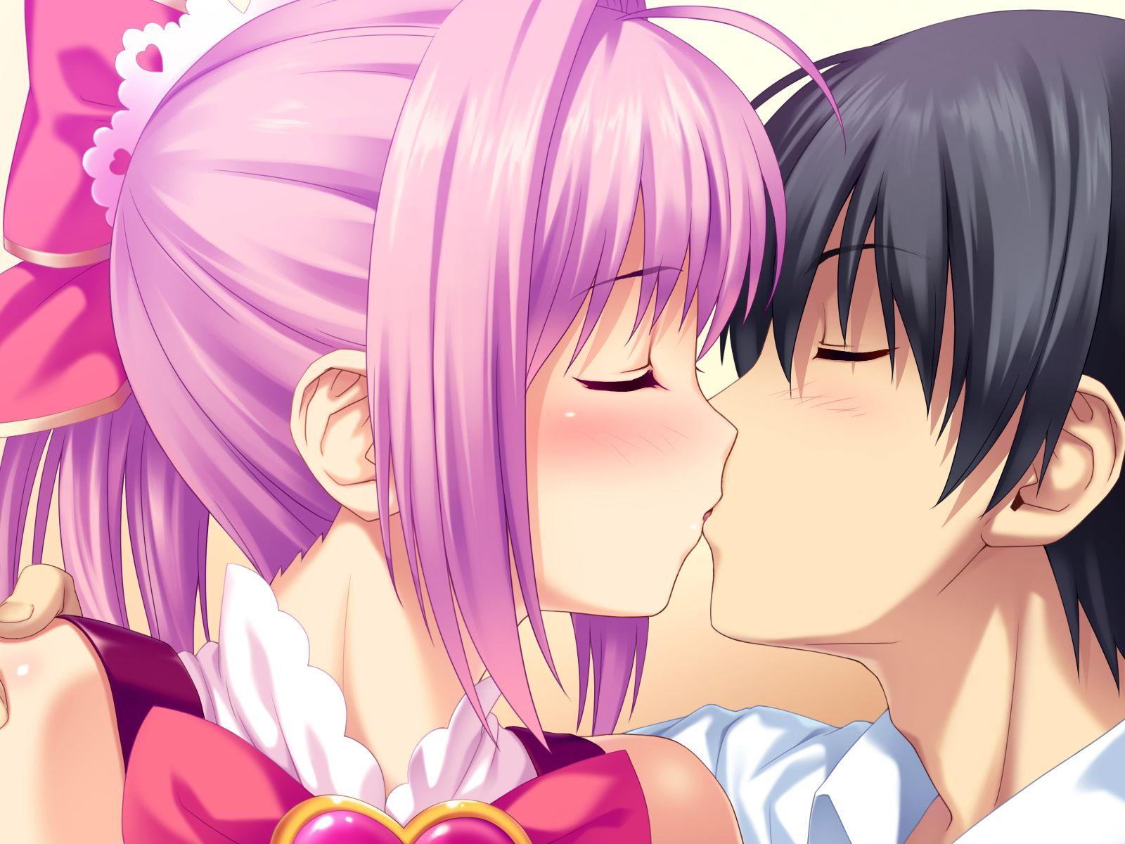 Днем рождения, картинки аниме поцелуи
