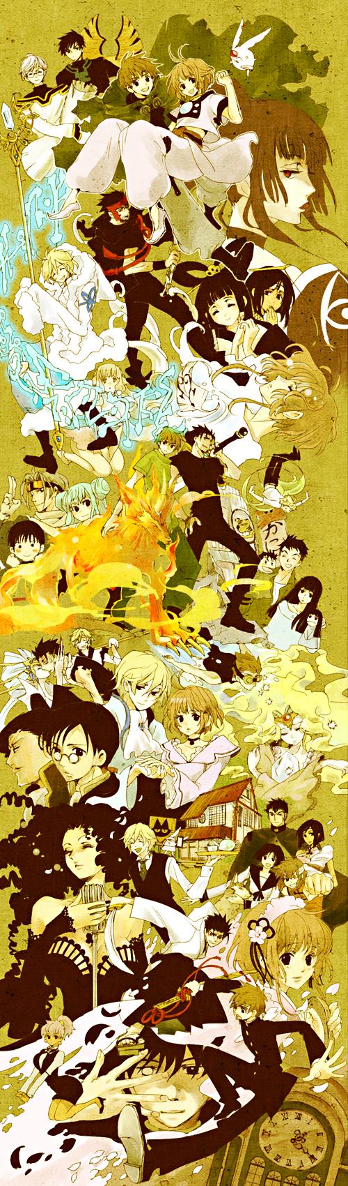 Tags: Anime, Fujimoto (Pixiv1086013), xxxHOLiC, Chobits, Tsubasa: RESERVoir CHRoNiCLE, Mokona Modoki, Princess Sakura, Souma (TRC), Daidouji Tomoyo (TRC), Fay D. Flourite, Sakurazuka Seishirou (TRC), Chii, Li Syaoran (TRC)
