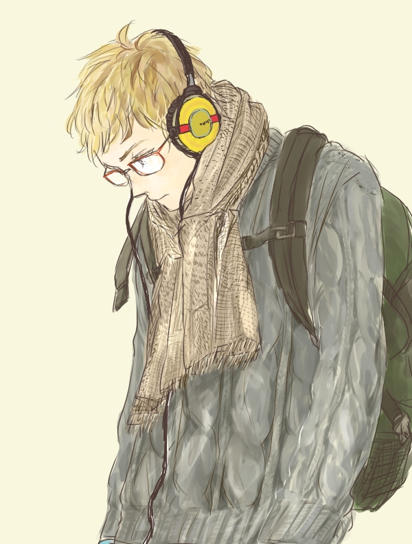 Tags: Anime, Pixiv Id 1511417, Haikyuu!!, Tsukishima Kei, Headphones Around Neck, Backpack
