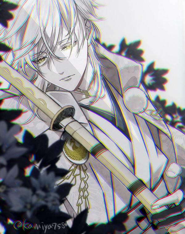 Tags: Anime, Pixiv Id 3997083, Touken Ranbu, Tsurumaru Kuninaga, Kimono Shirt, Tachi, Chain Necklace, Twitter, PNG Conversion, Fanart