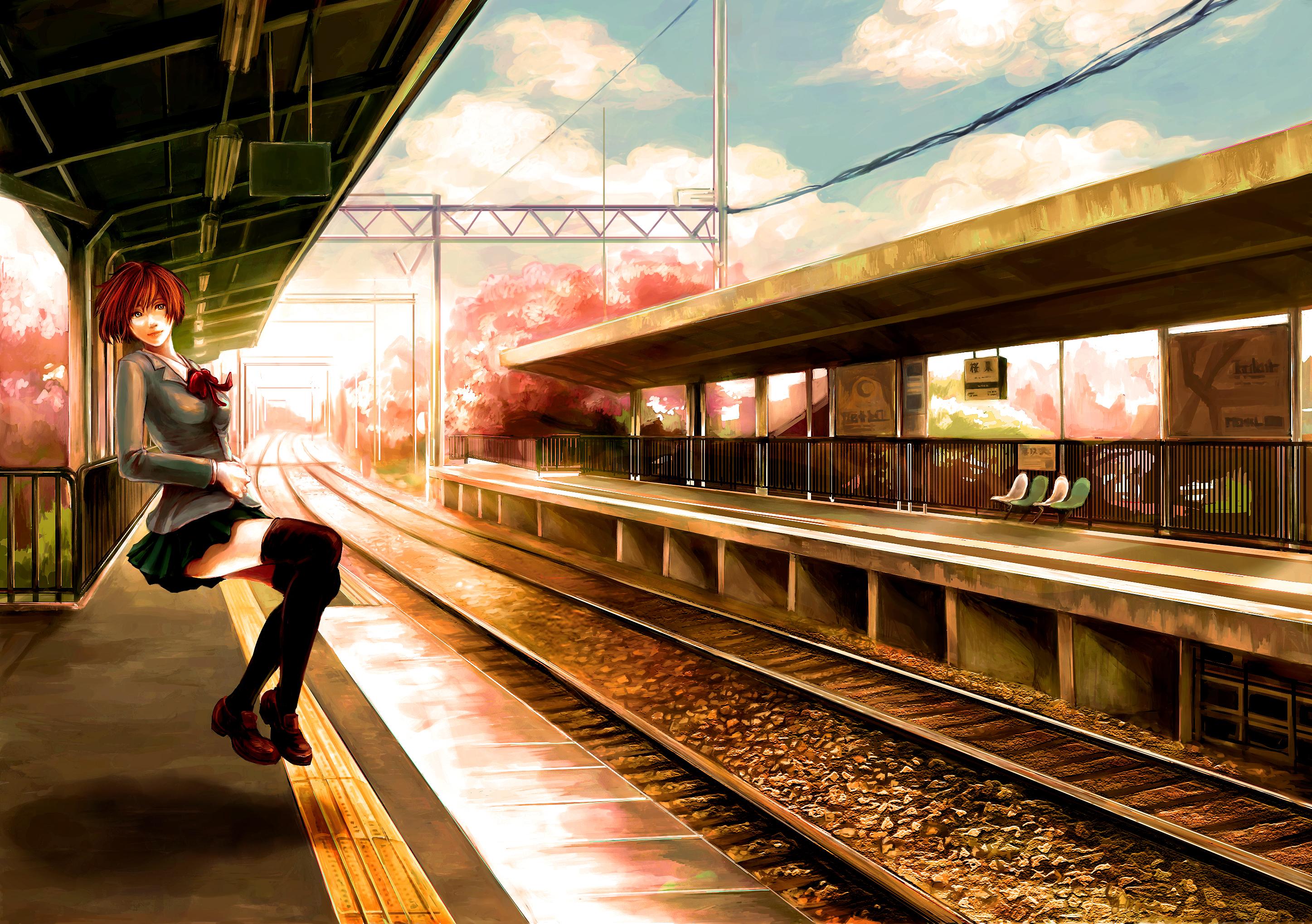 аниме девушка рельсы станция anime girl rails station скачать