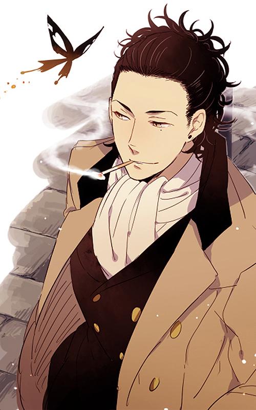 Tags: Anime, Butterfly, Cigarette, Smoking, D.Gray-man, Tyki Mikk, Pixiv Id 4774016