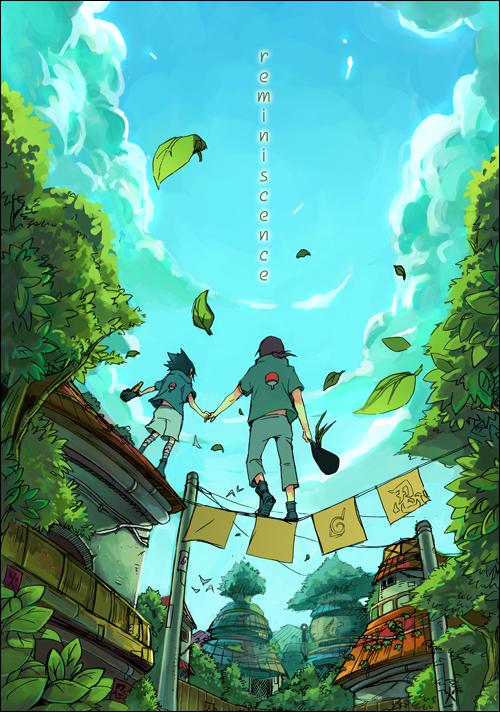 Tags: Anime, Inpells, NARUTO, Uchiha Itachi, Uchiha Sasuke, Village, Fanart, Mobile Wallpaper, Pixiv, Uchiha Brothers