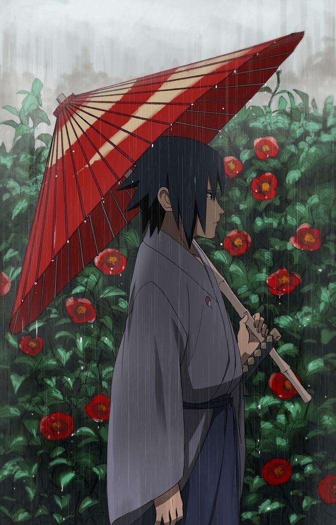 Tags: Anime, Zb., NARUTO, Uchiha Sasuke, Gray Sky, Mobile Wallpaper, Fanart, Pixiv