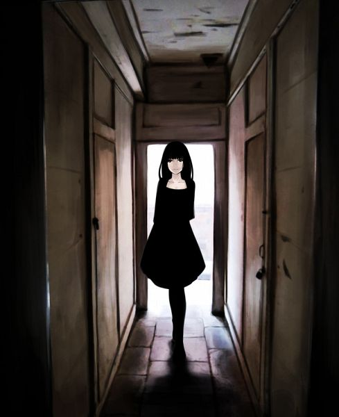 Tags: Anime, Ueyuu, Blunt Bangs, Door, Shadow