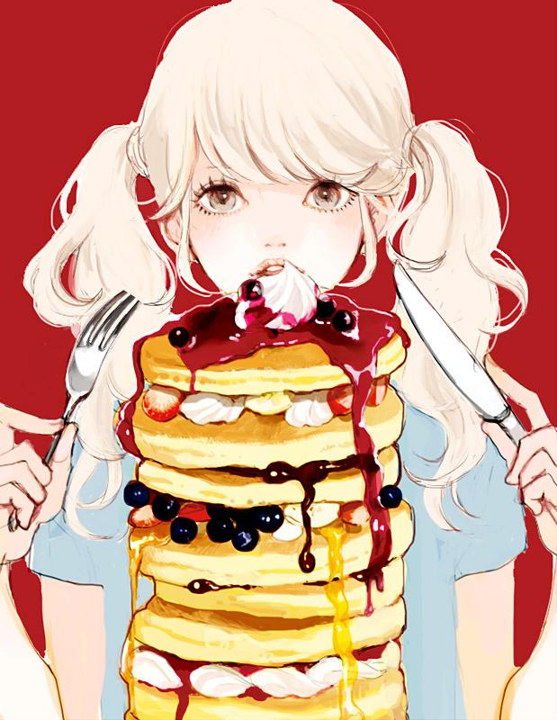 Tags: Anime, Uma-i-boh, Honey, Holding Fork, Cream, Berry, Blueberry, Syrup, Pancakes, Pixiv, Original