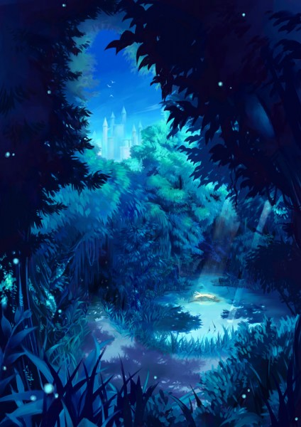 Tags: Anime, Umio Geso, Castle, Forest, Fireflies, Blue, Nature