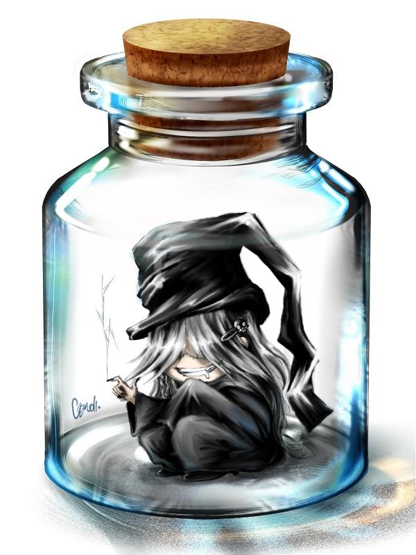 Tags: Anime, Justalenore, Kuroshitsuji, Undertaker, In a Bottle, Pixiv Bottle, Wallpaper, Fanart, deviantART