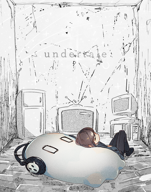 Tags: Anime, Namie-kun, Undertale, Napstablook, Frisk, Mouthless, Rectangular Eyes, Refrigerator, Hand on Stomach, Gray, Twitter, Tumblr, PNG Conversion