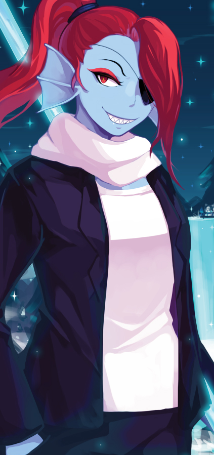 Tags: Anime, anosen, Undertale, Temmie, Undyne, Head Fins, Fins, Pixiv, Fanart From Pixiv, Fanart, PNG Conversion