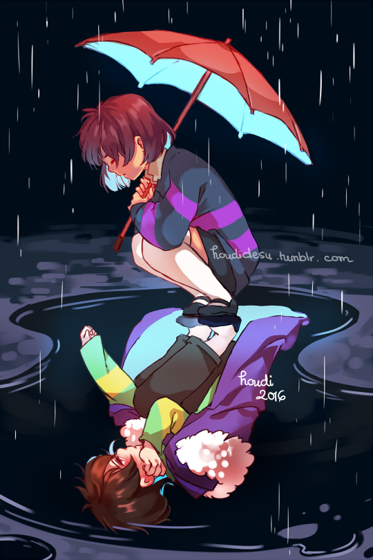Tags: Anime, Houdidoo, Undertale, Chara (Undertale), Frisk, Borrowed Clothes, Puddle, Striped Sweater, Striped Outerwear, Different Reflection, Fanart, Tumblr, Mobile Wallpaper